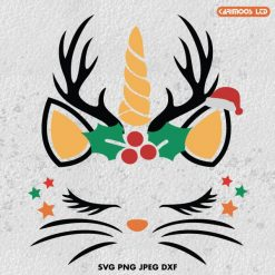 Christmas cat unicorn SVG
