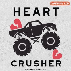 Monster truck heart crusher svg