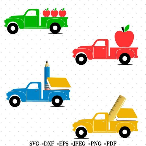 old truck back to school svg