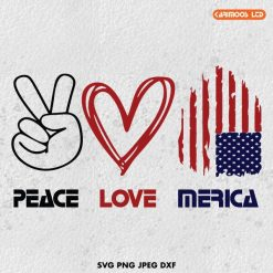 Peace Love Merica SVG