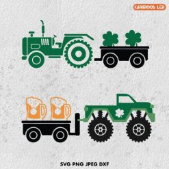 St patrick's day monster truck svg tractor svg