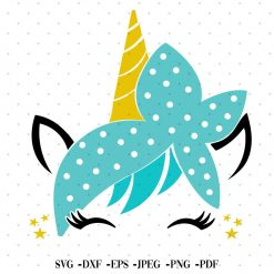 Unicorn with bandana SVG EPS JPEG PNG Files Digital Product UnicornDesign