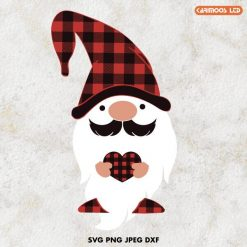 buffalo plaid gnome  heart svg