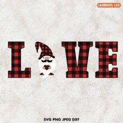 love svg | gnome svg | buffalo plaid svg