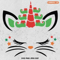 Christmas Elf Cat Unicorn SVG