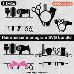 Hair dresser monogram svg bundle