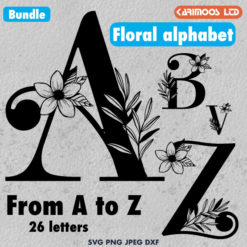 Floral Alphabet SVG Bundle